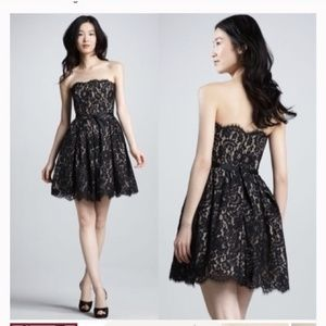 Black lace strapless flare cocktail party dress